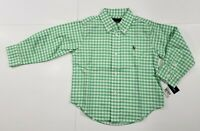 New tag Boys RALPH LAUREN White Green Checkered Long Sleeve POLO Dress Shirt 18M