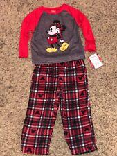 NWT Disney Mickey Mouse Pajamas 2pc Toddler Boys 3T Soft Knit Top fleece pants