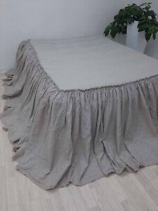 Linen ruffled COVERLET Linen bedspread Bed COVERLET  SKIRTED bed cover bedding