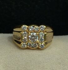 18k Solid Yellow Gold Men Ring With Cubic Zirconia, Sz 7.25. 8.48 Grams