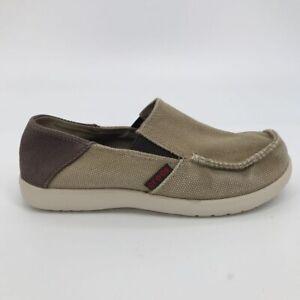 Crocs Boys Loafer Shoe Brown White Low Top Slip On Moc Toe Little Kids Size 2