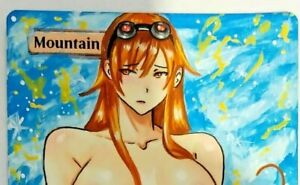 Hand Painted Altered MTG Card, Mountain Anime Sexy Chandra Girl