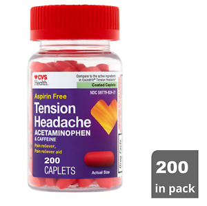 CVS Aspirin-Free Tension Headache Pain Reliever/Pain Reliever Aid 200 Coated Cap