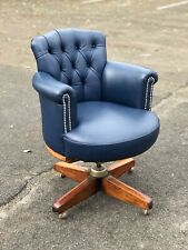 Edwardian Oak Desk Chair With Buttoned Back Leather