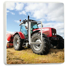 Red Tractor in the field light switch cover sticker art photo (10985815) Farming
