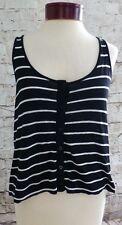 I love H81 Black & White Striped High Low Tank Top Women's Size Medium