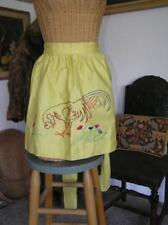 Vintage Rooster Chicken Yellow Apron embroidered one size