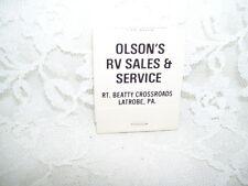 OLSON'S RV SALES & SERVICE LATROBE PA MATCHBOOK W/ COWPOKE CARTOON ON BACK