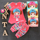 2Pcs Baby Girls Summer Casual Cotton T-shirt Pants Toddler Clothes Set Outfits
