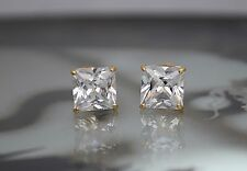 14K Solid Yellow Gold Lab Diamond Princess Cut Push Back Stud Earrings 1TCW