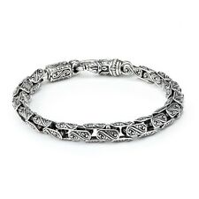 Konstantino Men Sterling Silver with Carved Oval Links Bracelet 8.5 inches Long