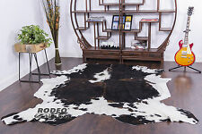 Extra Large Dark tricolor white belly cowhide rug genuine leather size 7X8