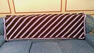 Lavender Chocolate Stripe Crochet Afghan