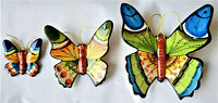3 x Butterflys Hand painted Portuguese Ceramic Hanging Made in Portugal garden