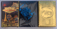 Lot Of 3 Creative Waterproof Plastic PVC Poker Magic Playing Cards Sets Blk/gold