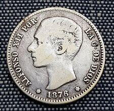 Año 1876* 1 - 7 -. 1 Peseta Plata de ALFONSO XII. Peso actual 4,82 gr. ESCASA.
