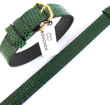 14mm ONE PIECE GREEN CABOUCHON WATCH STRAP. LIZARD GRAIN LEATHER. EASY TO  FIT.