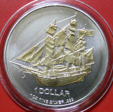 "Cook Islands 1 Dollar 2009 Silber 1 Oz #F3781 ""Bounty"" ST-BU 24k Gold gildet COA"