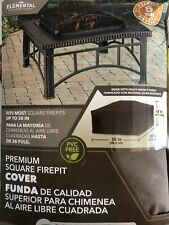 Elemental 38� Brown Square Firepit Cover heavy Duty fabric Water-resistant