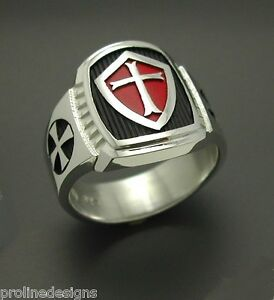 STERLING SILVER .925 MASONIC RING Knights Templar #014 with red shield