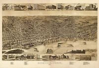 Map Memphis Tennessee 1887 Vintage Picture Canvas Art Print