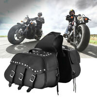 2x Real Motorcycle Panniers Saddle Bag Motorbike Accessory Luggage Bag Tool Box