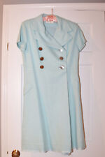 VINTAGE POWDER BLUE BUTTON DOWN SHORT SLEEVE DAVID WARREN COAT - PRE-OWNED
