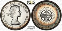 1964 CANADA ONE DOLLAR CONFEDERATION PCGS PL65 RAINBOW COLOR TONED COIN!