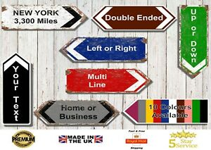 Personalised Metal Road Sign Arrow Direction Sign Wall Sign Man Cave Kitchen Pub