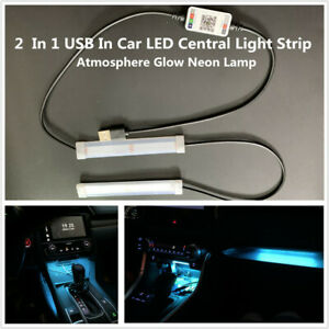 2  In 1 USB Car LED Central Control Light Strip Atmosphere Glow Neon Lamp Decor