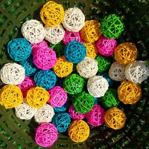 10pcs Natural Rattan Ball Bird Chew DIY Toy For Parrot Budgie Parakeet Cage Toys