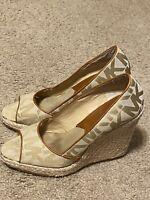 KORS Michael Kors Logo Womens Wedge Heel Peep Toe Espadrilles Brown Size 6