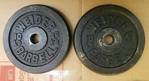 Rare pair of 10 lb VINTAGE Weider Barbell Standard Size weight plates