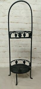 Tiered Black Iron Plant Holder Stand 3ft Tall floral shelves
