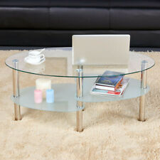 Modern Glass Top Coffee Table Sofa Side Table Living Room Stainless Steel Legs