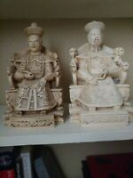 Carved Emperor & Empress On Throne Figurines Chinese Zen Garden Ivory Resin