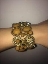 NWOT Saks Fifth Ave Gold Brown Beige Cuff Link Stretch Bracelet Embellished $145