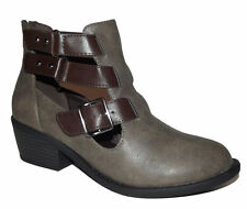 Brown Gray Cowgirl Cut Out Buckle Ankle Strappy booties BOOT Stacked Heel womens