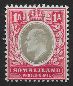 SOMALILAND SG33 1904 1a GREY-BLACK & RED MTD MINT