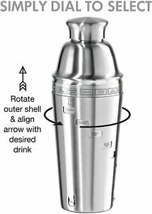 OGGI Dial A Drink Cocktail Shaker - Stainless Steel, 15 Recipes, Built in Strain