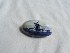 Vintage Jewelry Delft Holland Porcelain Windmill Brooch Pin (rr058)