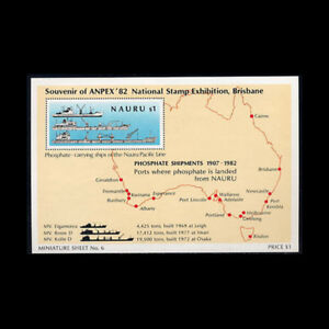 Nauru, Sc #256, MNH, 1982, S/S, Ships, Map, Stamp Expo, AR5FHI-C