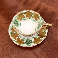 "Royal Stafford Heavy Gold Green White Teacup And Saucer ""La Vigne D'or Gold"""