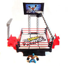 WWE WWF WRESTLING Rumblers Destroyable Action Ring Playset Rey Mysterio figure