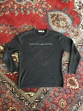 DKNY JEANS Spellout Sweater XXL Black Cotton Hipster Punk Oversized E Girl