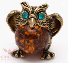 Solid Brass Amber Figurine of bird Owl with Amber Belly Totem talisman IronWork