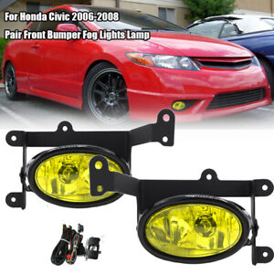 For 2006-2008 Honda Civic Coupe JDM Yellow Bumper Fog Lights Pair+Switch