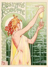 5 Art Nouveau 'Absinthe Robette' alcohol liquor advertisement postcards 1896