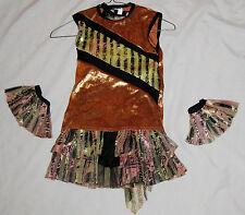 Orange Black Size Girls 8 - 10 Spandex Short Dress Shirt Costume W Wrist Bands
