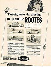 PUBLICITE ADVERTISING  1960   ROOTES   humber hillman sunbeam